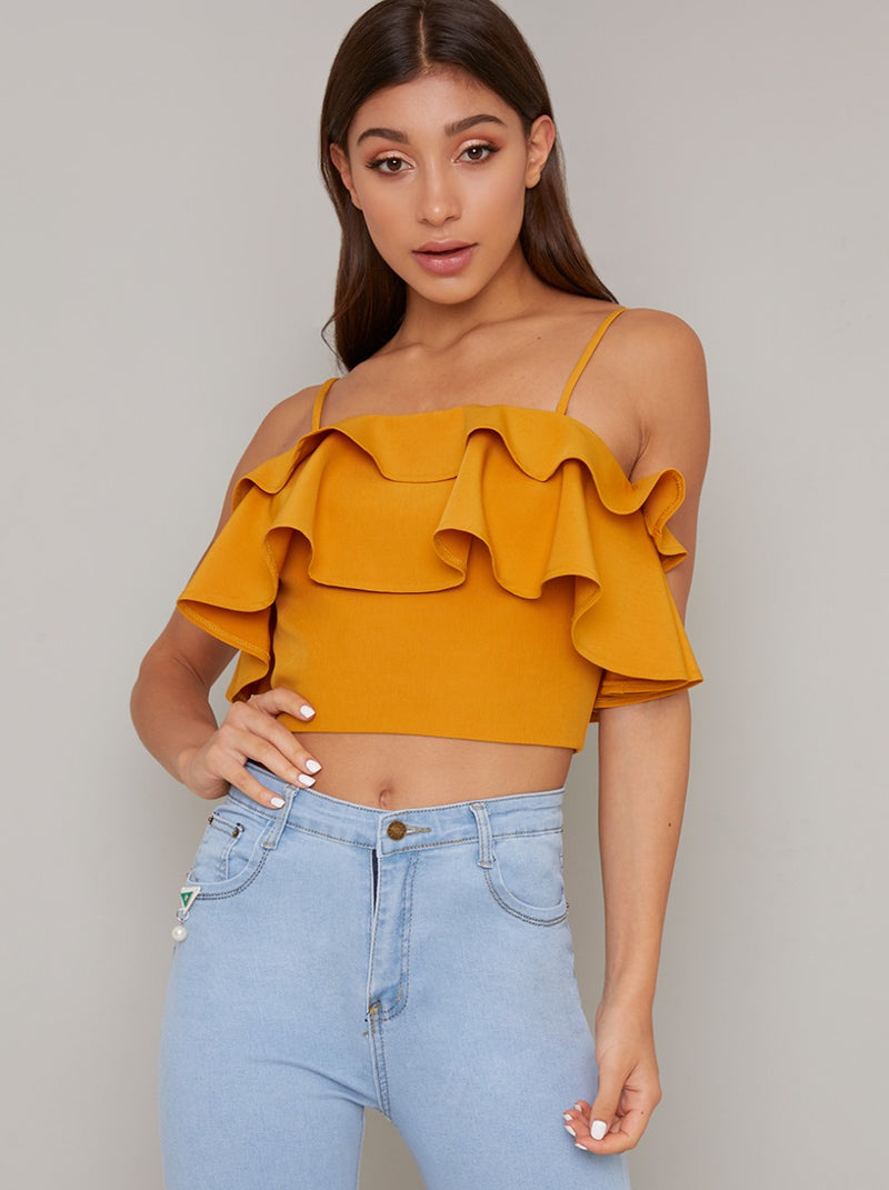Cami Strap Ruffle Crop Top in Yellow