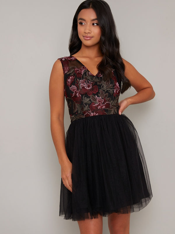 Petite Embroidered Tulle Mini Dress in Black