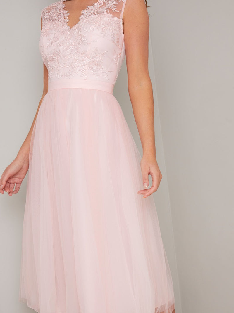 Lace Bodice Sleeveless Tulle Midi Dress in Pink