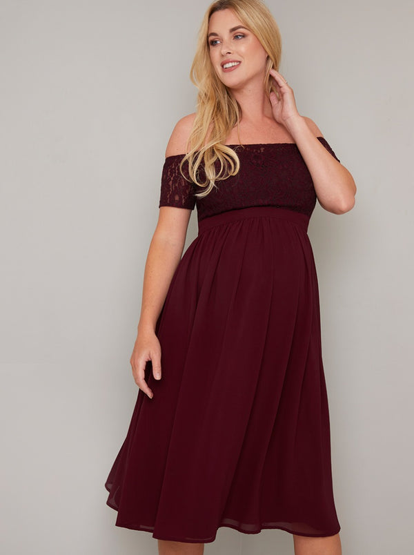 Maternity Lace Bardot Midi Dress In Burgundy