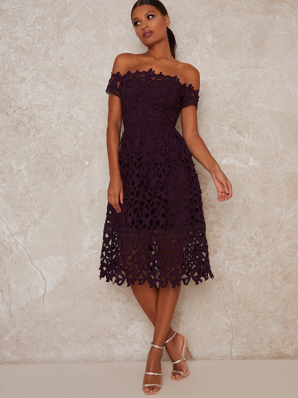 Bardot Lace Crochet Midi Dress in Berry