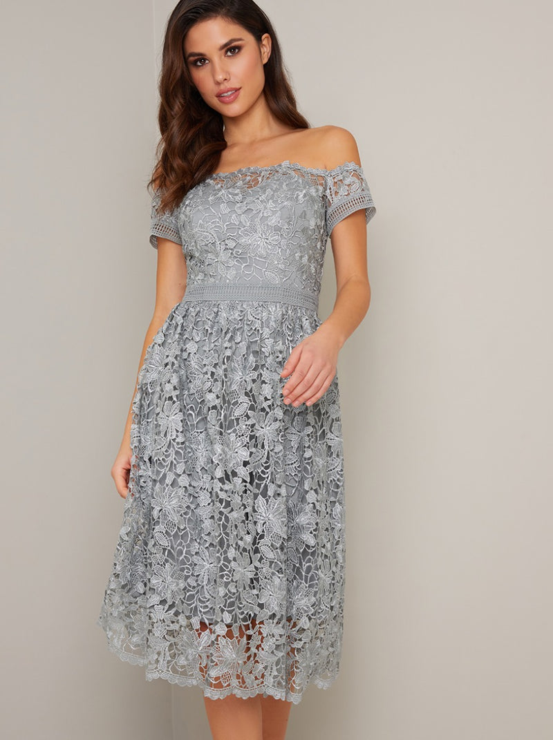 Bardot Neck Lace Crochet Midi Dress in Green