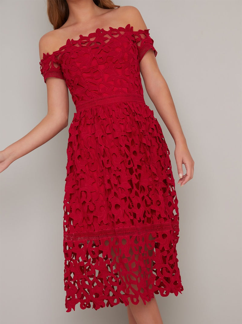 Bardot Neck Lace Crochet Design Midi Dress in Red