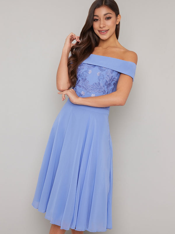 Emboridered Chiffon Skirt Midi Dress in Blue
