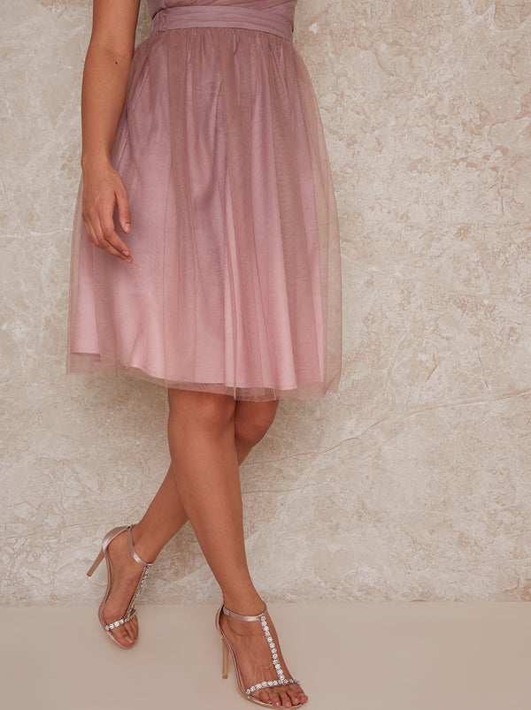 Mesh Ombre Midi Skirt in Pink