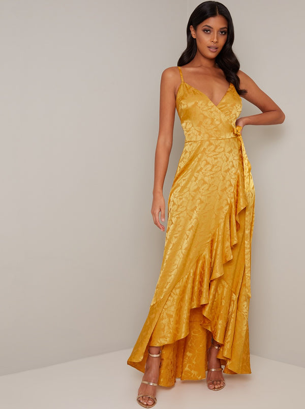 Cami Strap Wrap Maxi Dress In Mustard