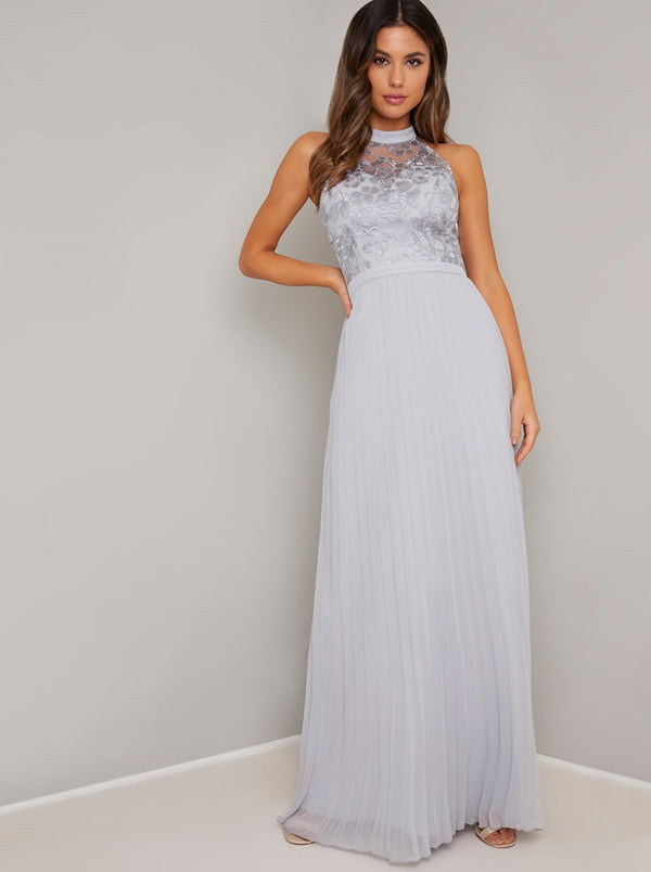 High Neck Embroidered Bodice Maxi Dress in Blue