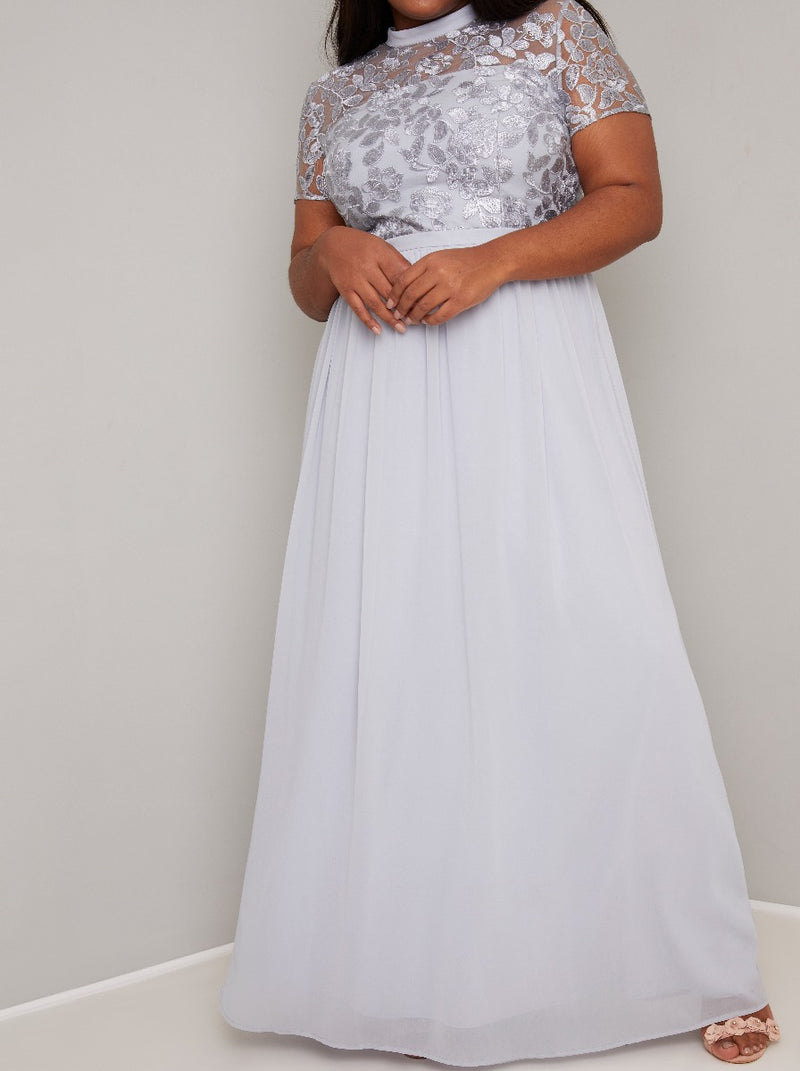 Plus Size High Neck Lace Pleat Maxi Dress in Blue