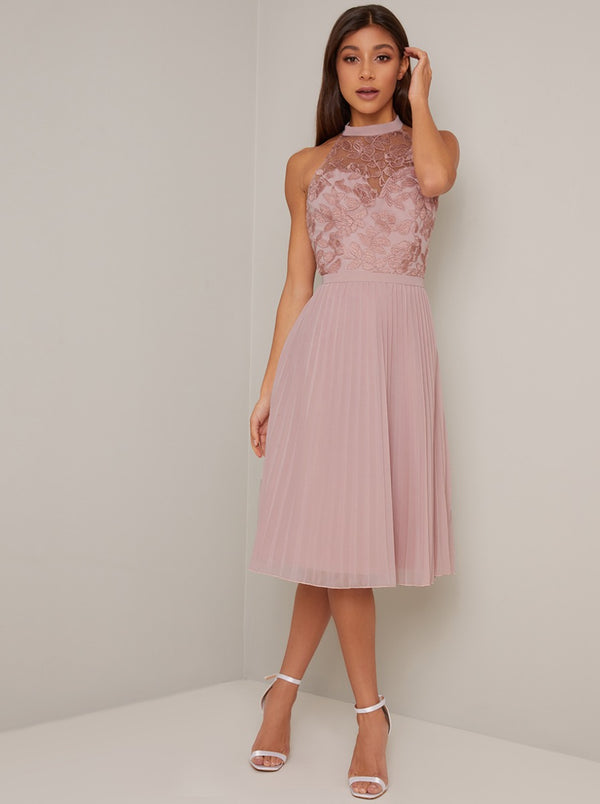 Embroidered Bodice High Neck Midi Dress in Pink