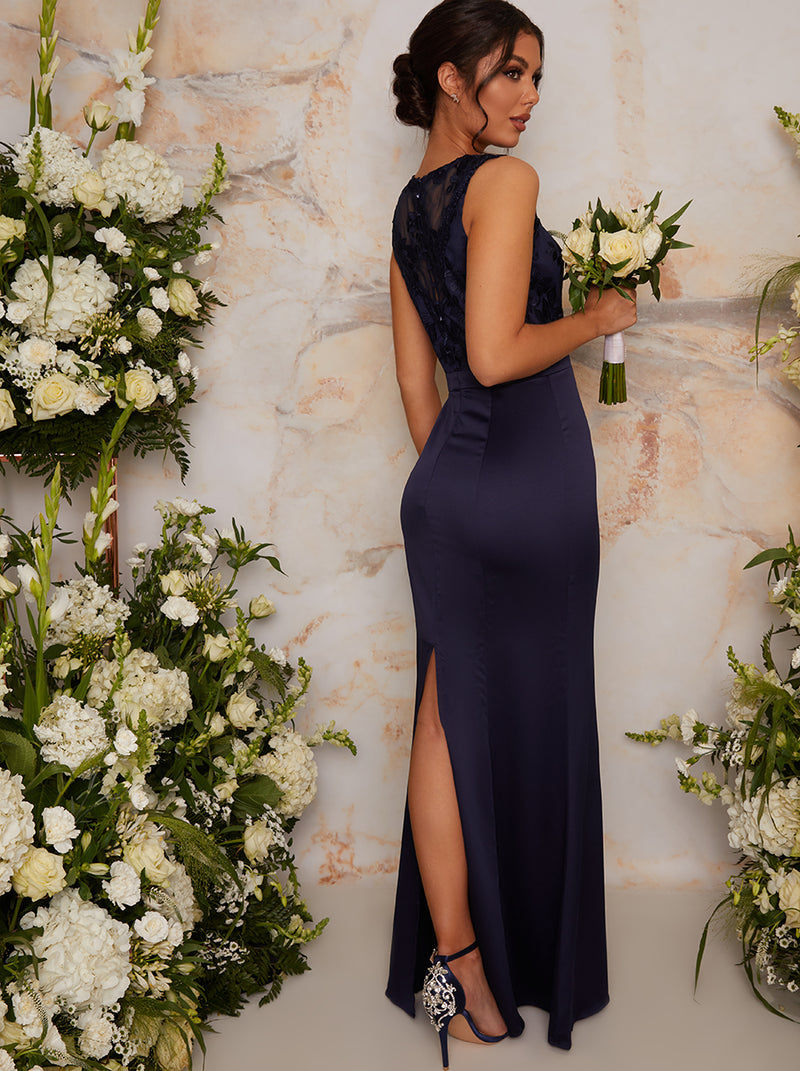 Lace Bodice High Neck Maxi Bridesmaid Dress in Blue