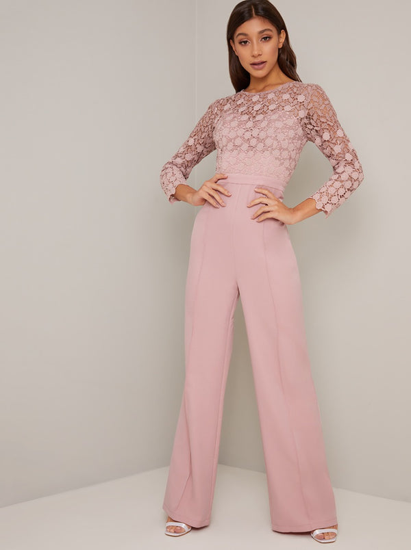 Long Sleeved Lace Bodice Wide Leg Jumpsuit in Pink