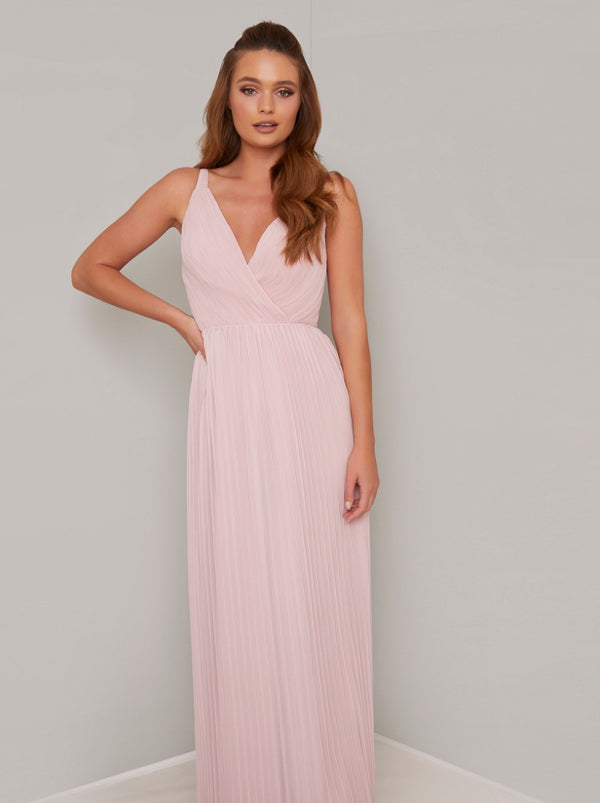 Wrap Bodice Pleat Maxi Dress in Pink