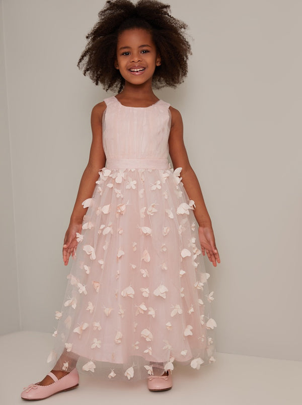 Girls 3D Maxi Tulle Flower Girl Dress in Pink