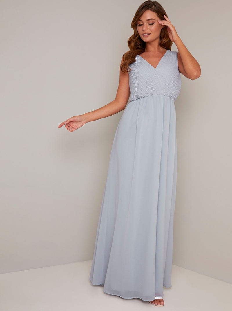 Lace insert Pleat Bodice Maxi Dress in Blue