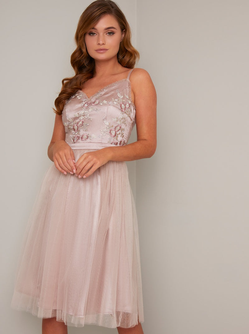Cami Strap Vintage Lace Bodice Midi Dress in Pink