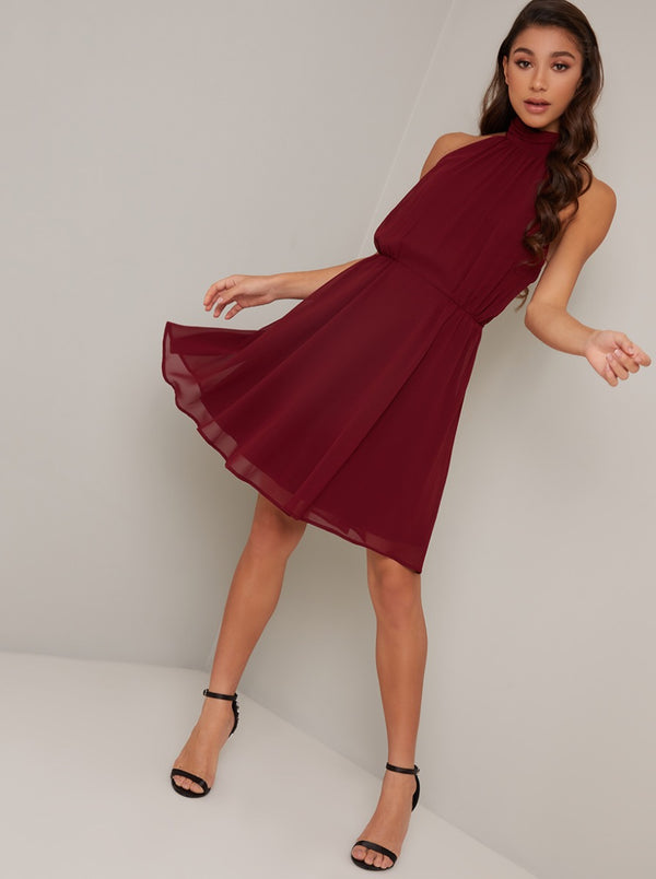 Pleated High Neck Mini Dress In Burgundy
