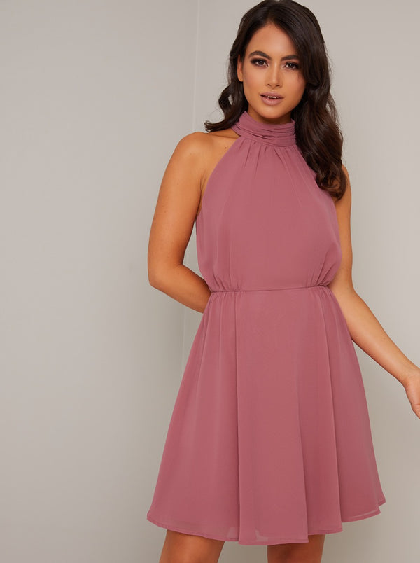 Petite High Neck Open Back Mini Dress in Pink