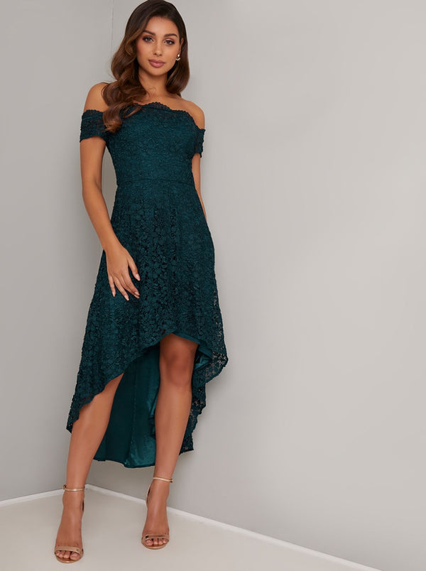 Bardot Lace Overlay Dip Hem Midi Dress in Green