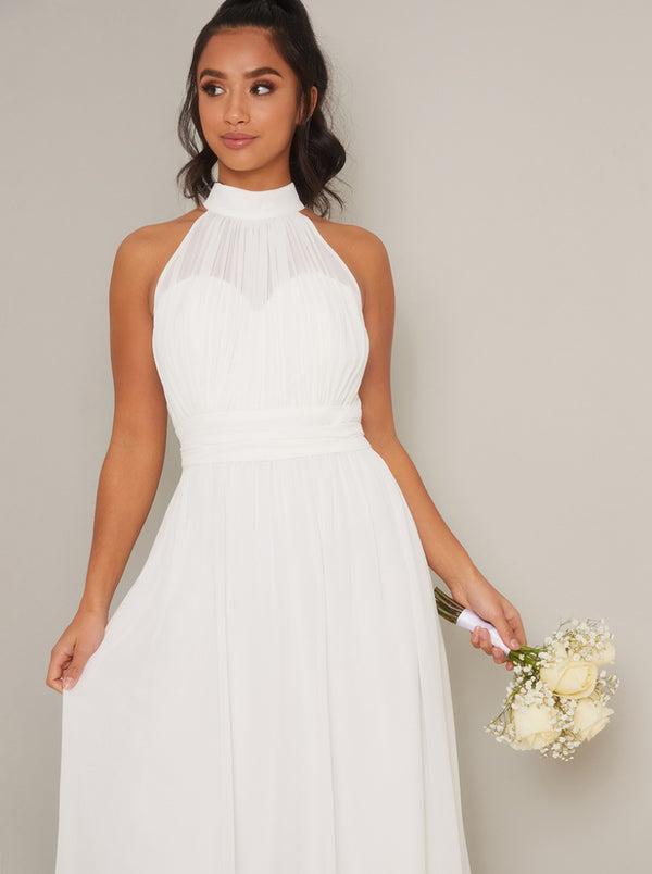 High Neck Chiffon Bridal Maxi Dress in White