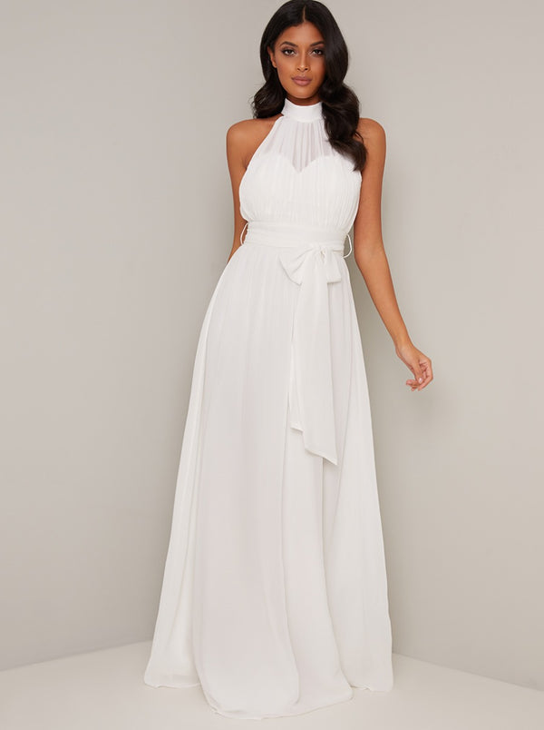 Halter Style Chiffon Maxi Wedding Dress in White