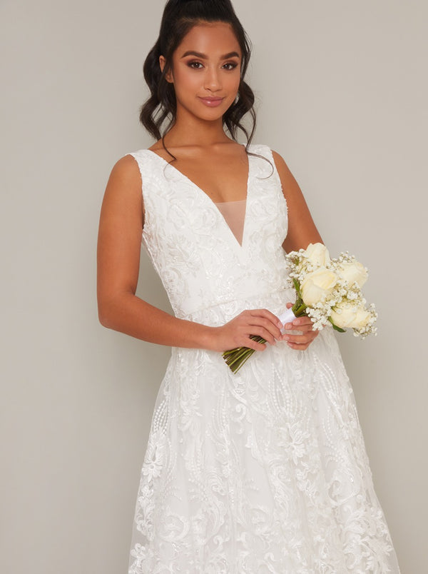 Petite Lace V Neck Bridal Maxi Dress in White