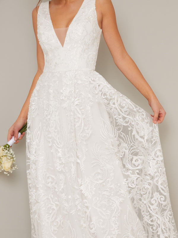 Bridal Lace V Neck Maxi Dress in White