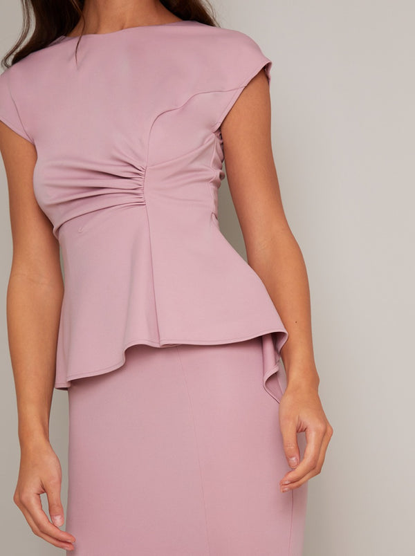 Structured Peplum Waist Bodycon Midi Dress in Pink
