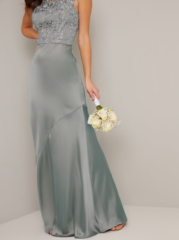 Sleeveless Crochet Maxi Bridesmaid Dress in Green