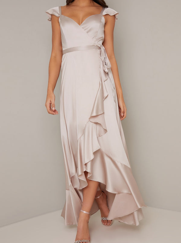 Wrap Design Frill Detail Dip Hem Dress in Neutral