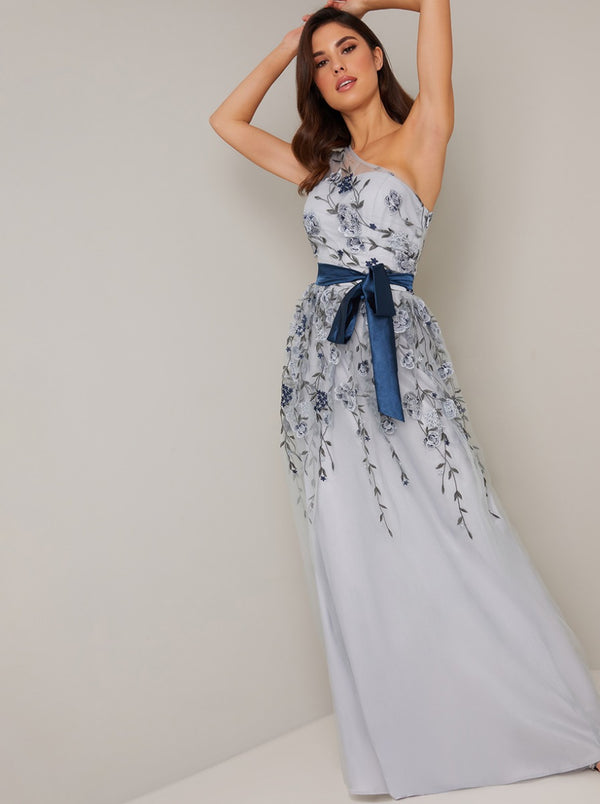 One Shoulder Lace Detail Ribbon Tie Maxi Dress in Blue