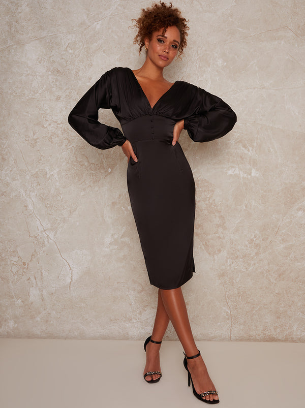 Satin Midi Dress With Long Sleeves in Black