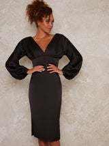 V Neck Puff Sleeved Satin Look Midi Dress in Black