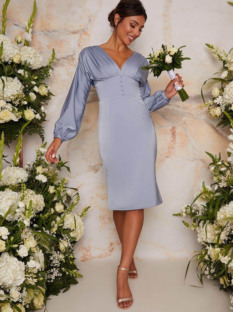 Satin Bridesmaid Midi Dress With Long Sleeve In Blue