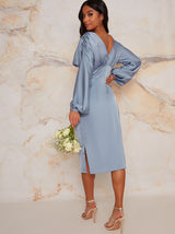 Petite Satin Bridesmaid Midi Dress With Long Sleeve In Blue