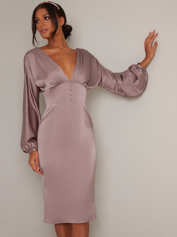 V Neck Balloon Long Sleeve Satin Midi Dress in Brown