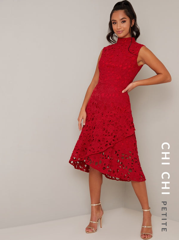 Petite High Neck Sleeveless Lace Midi Dress in Red