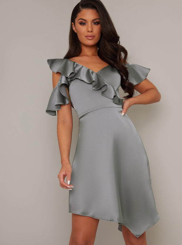 Frill Detail Satin Finish Midi Dress In Grey
