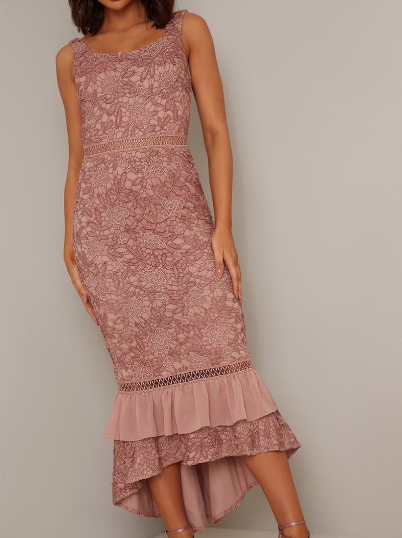 Bodycon Lace Crochet Frill Hem Midi Dress in Rose Gold