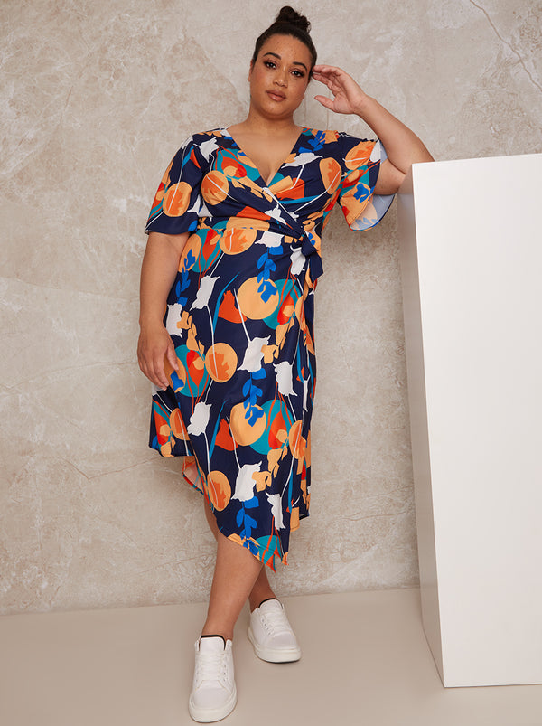 Plus Size Abstract Print Midi Wrap Day Dress with Short Sleeves in Blue