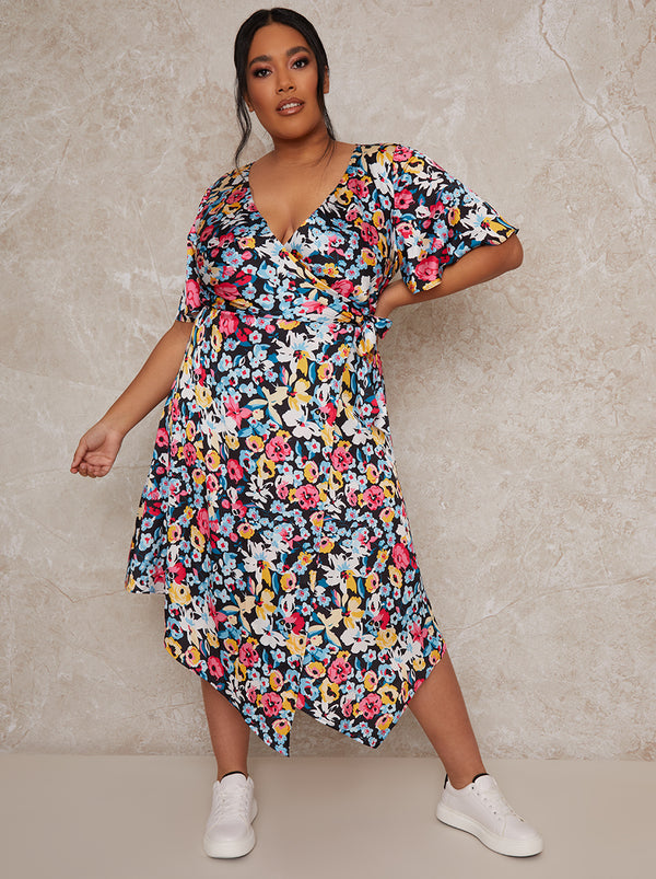 Plus Size Short Sleeve Floral Print Midi Wrap Day Dress in Black