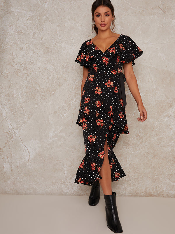Ruffle Tie Waist Floral Print Midi Dress in Black