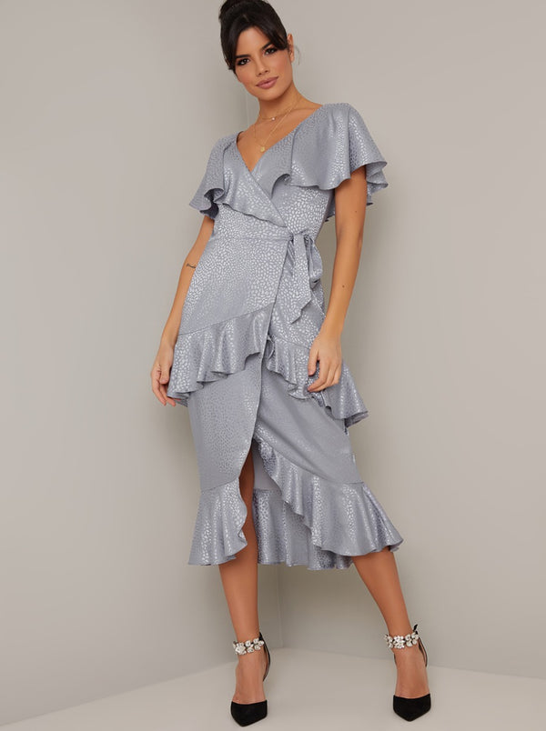 Satin Finish Ruffle Wrap Style Midi Dress in Blue