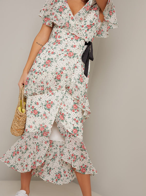 Wrap Day Dress with Floral Print Design in Cream