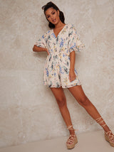 Angel Sleeve Floral Print Playsuit in White