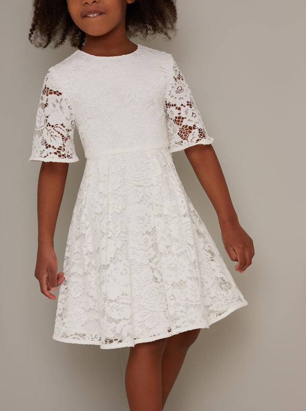 Girls Short Sleeved Lace Overlay Dress in White