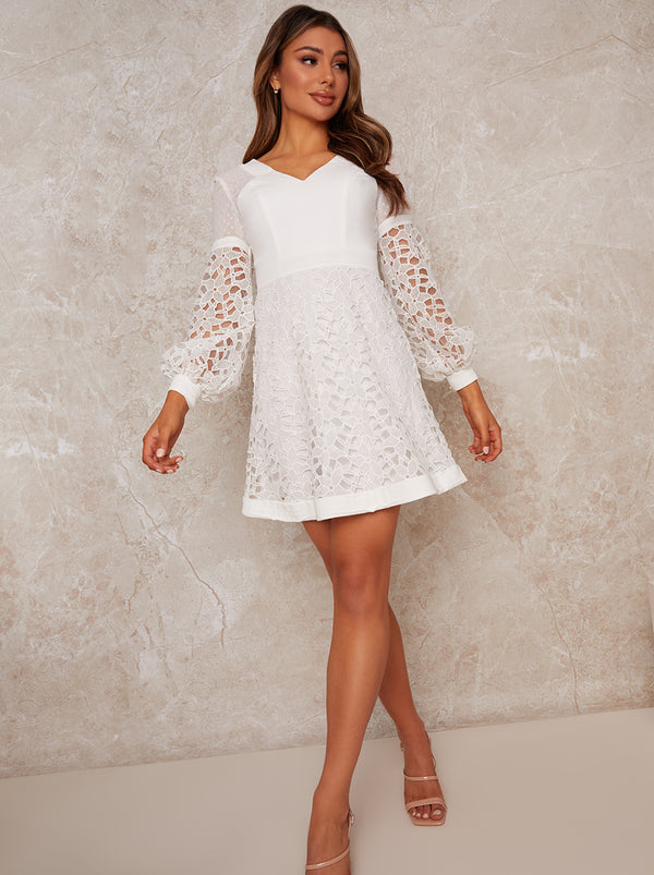 Crochet Mini Dress in White