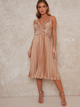 Satin Finish Cami Strap Pleated Midi Dress in Champagne