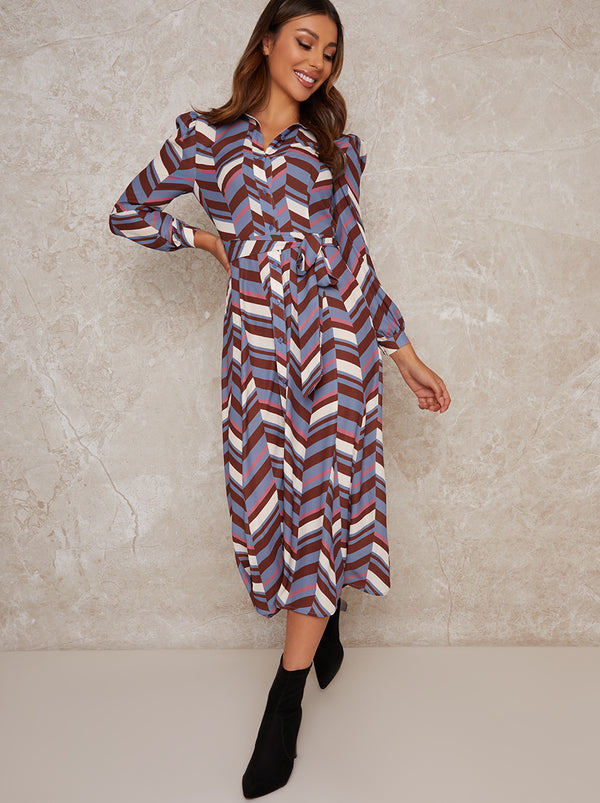 Geometric Print Midi Shirt Dress in Multi