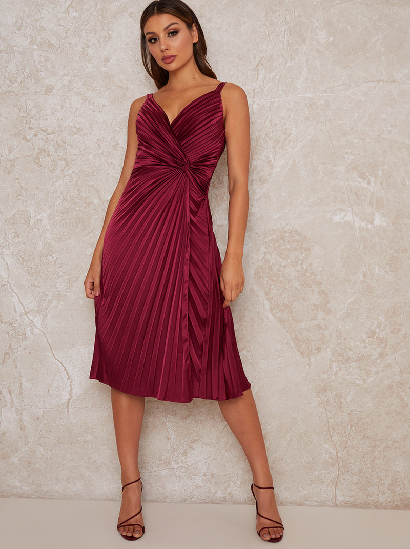 Satin Finish Cami Strap Pleated Midi Dress in Red