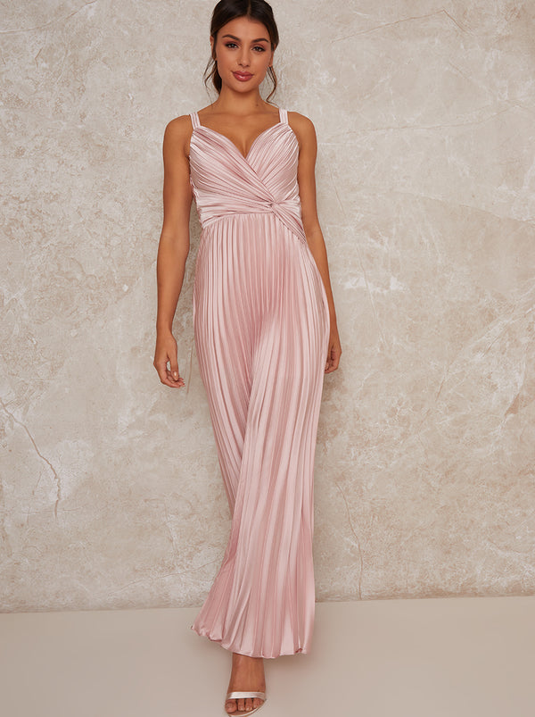 Satin Pleated Wrap Maxi Dress In Pink